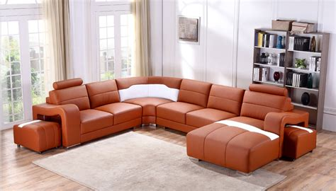 orange sectional sofa divani casa t358b modern orange white leather sectional sofa