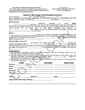 Islamic Marriage Contract Template by Indian Nikah Nama Fill Printable