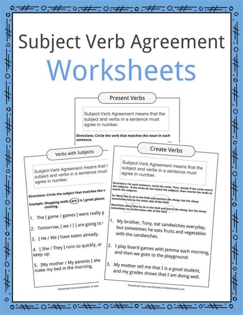 printable worksheets subject verb agreement subject verb agreement worksheets kidskonnect