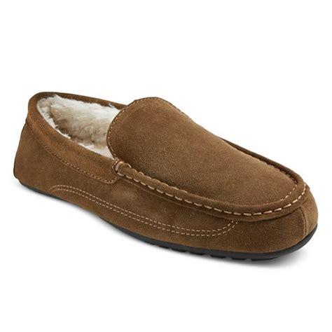 fleece lined mens slippers s fleece lined suede moccasin slipper ebay