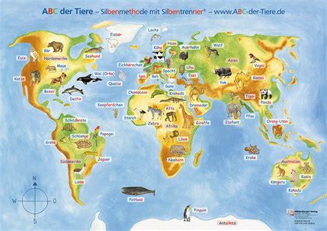 Plakat Welt by Weltkarte Poster Mit Tieren Creactie