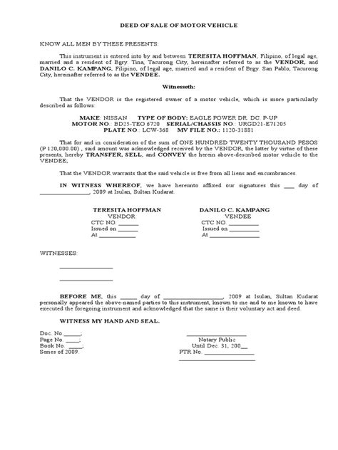 bill of sale south africa templates agreements