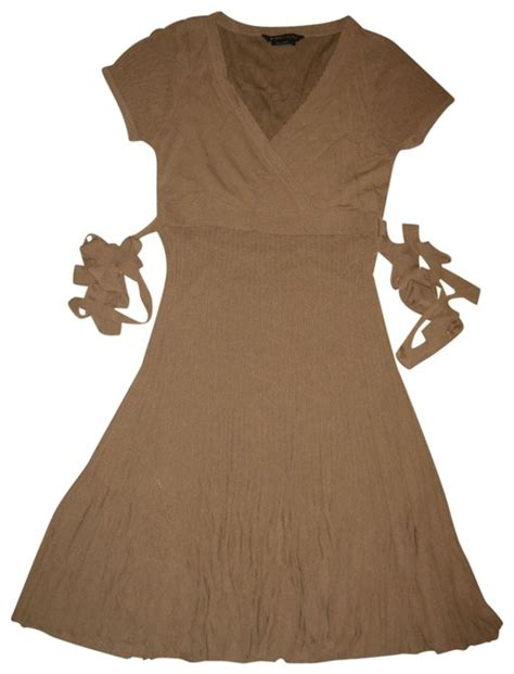 Brown V Neck Casual Dress bcbgmaxazria brown knee length knit v neck sleeve mid length casual dress size 12 l