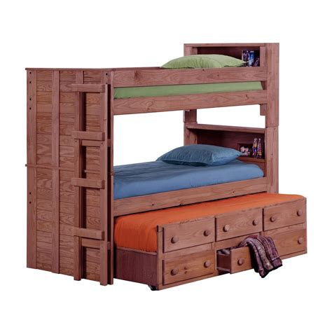 chelsea home 312055 bookcase bunk bed with trundle unit