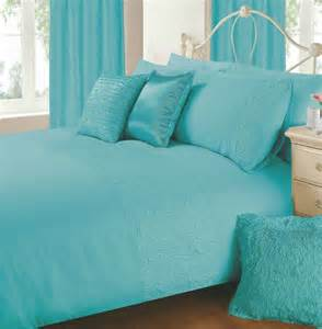 Plain Blue Bedding Sets Aqua Blue Colour Plain Duvet Cover Microfiber Embossed