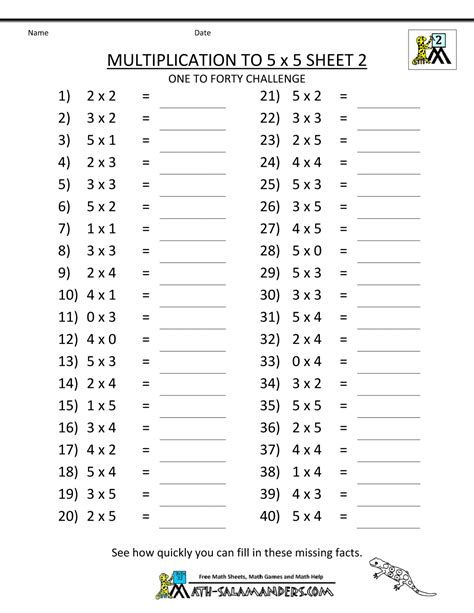 Math Worksheets by Multiplication To 5x5 Worksheets For 2nd Grade