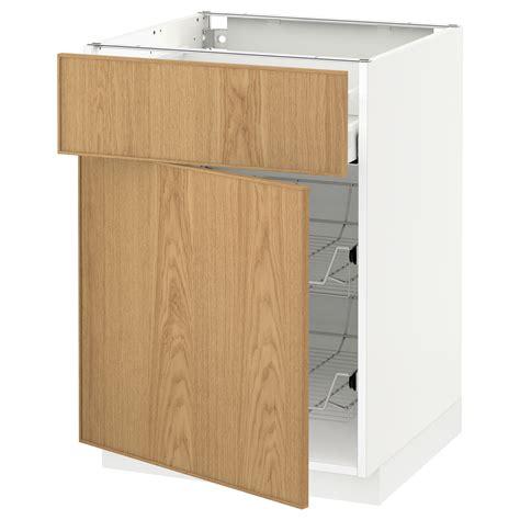 metod maximera base cab w wire basket drawer door white ekestad oak 60x60 cm ikea metod maximera base cab w wire basket drawer door white