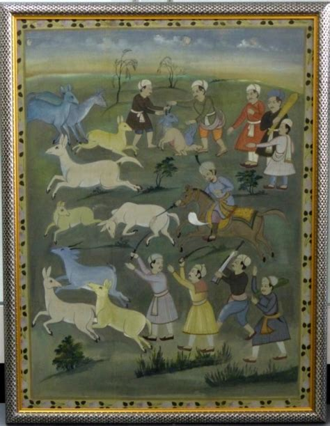 canvasstyle imaginary house hunt indian mughal style painting of hunting scene