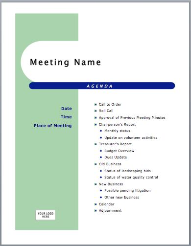 best photos of template for creating an agenda meeting