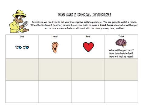 social detective worksheets free social thinking includes activities for