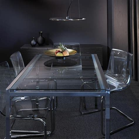 Apartment Tips Glivarp Extendable Table In Chrome Tempered Glass Seats 4