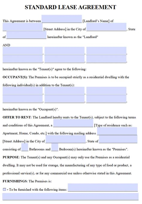 printable one year lease agreement free residential lease agreements pdf and word templates