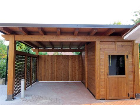 box in legno per auto carport per auto singolo con box integrato