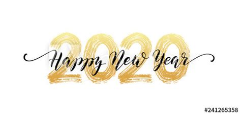 happy  year script text hand lettering design template celebration typography poster