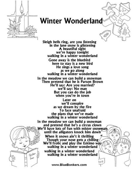 printable christmas carols list 17 best ideas about lyrics to winter wonderland on
