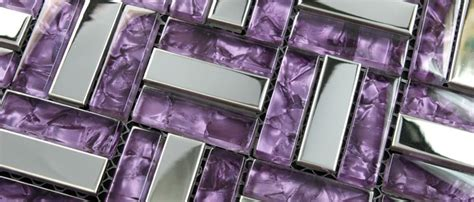 stainless steel mosaic tile purple glass mosaic kitchen
