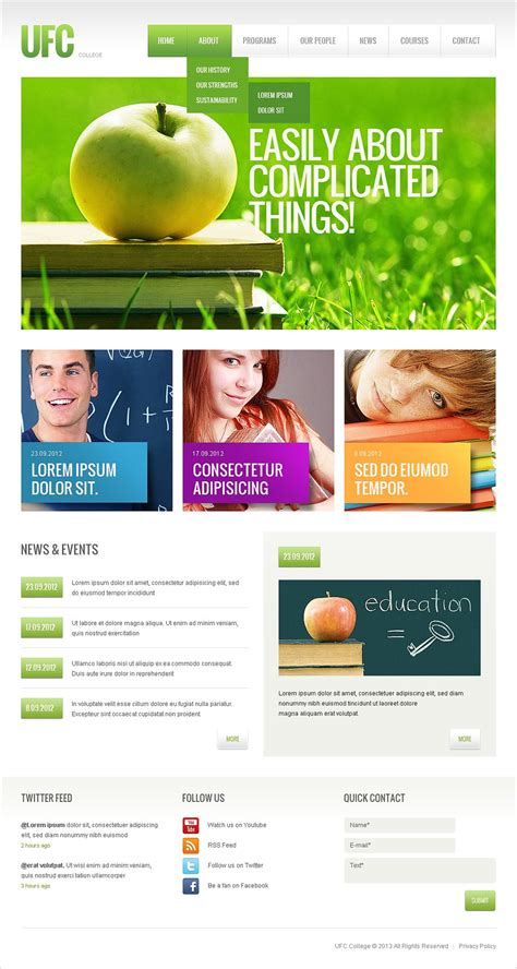 templates for university website free download 22 best university website templates psd free download