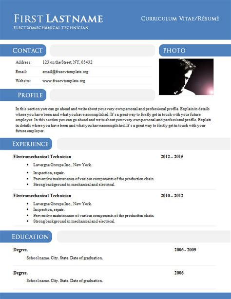 Docs Cv Template by Curriculum Vitae R 233 Sum 233 Template In Doc Format 897 903