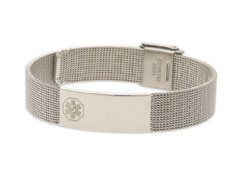 Women's Stainless Steel Mesh Medical ID Bracelet