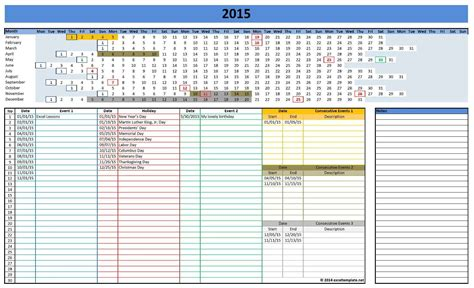excel calendar template 2015 2015 calendar by week excel myideasbedroom