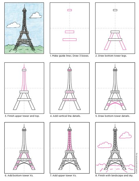 how to draw the eiffel tower tower tutorials and free