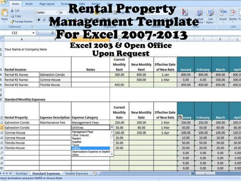 rental property income statement template rental property management template term rentals rental