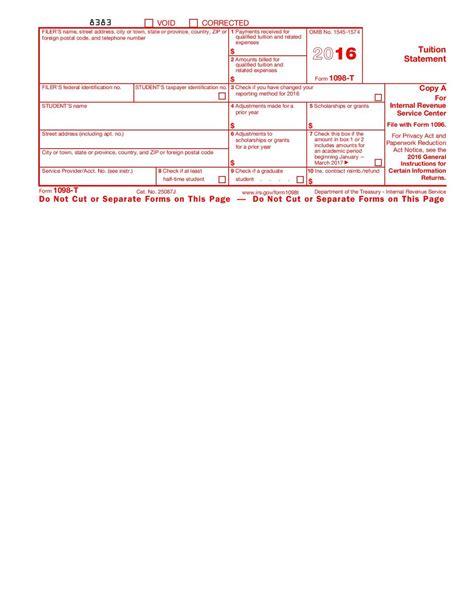 No Credit Form College Form 1098 T