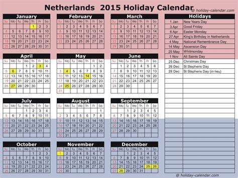 Calendar Holidays 2015 Netherlands 2015 2016 Calendar