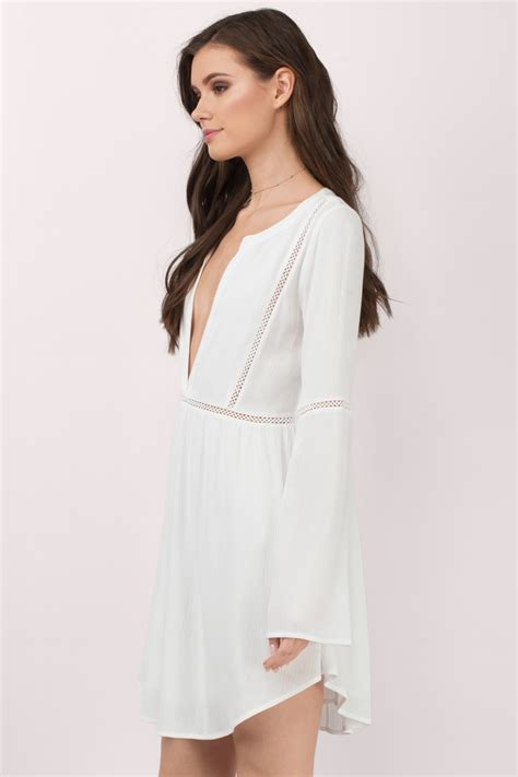 White Dress white shift dress plunging dress white kaftan dress