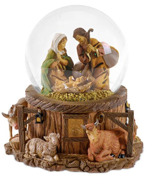 roman fontanini nativity lighted snow globe holiday lane