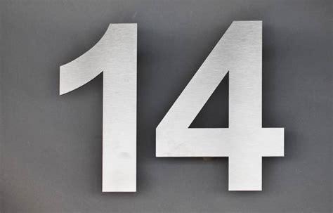 Hausnummer Weiß Metall by Edelstahl Hausnummer 14