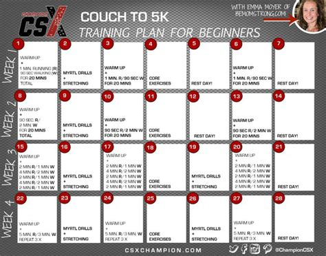 couch to 5k schedule couch to 5k 3 month training plan chion csx csx