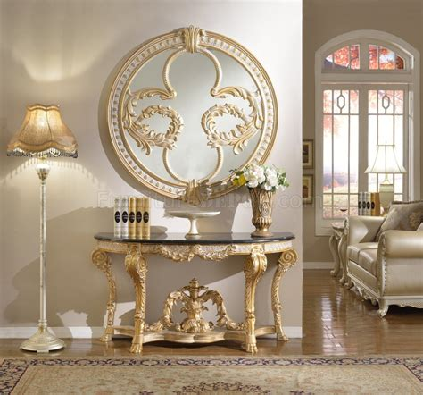 versailles console table  gold tone  meridian  marble top