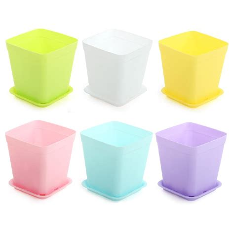 Square Flower Pots New 6pcs Pack Flower Pot Square Plastic Planter Nursery