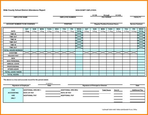 9 attendance sheet template excel for employee dialysis
