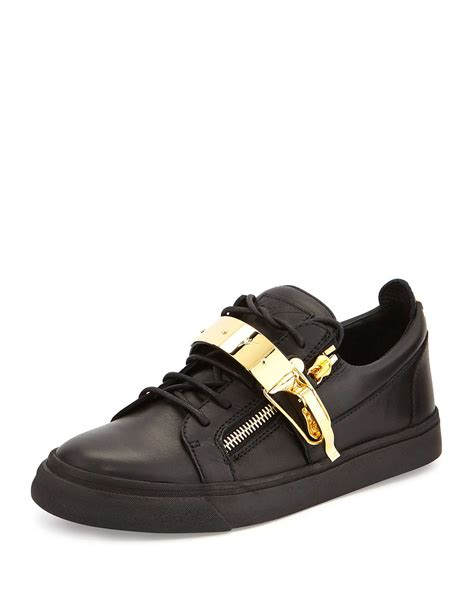 mens giuseppe sneakers lyst giuseppe zanotti leather metal low top