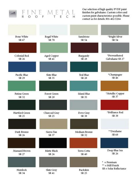 color chart  galvalume home happiness copper roof