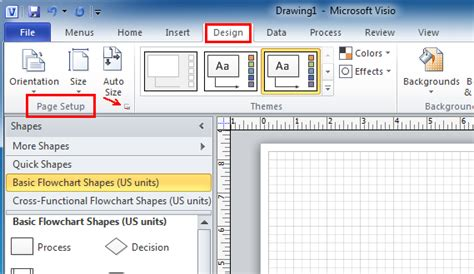 visio fit to drawing where is page setup in microsoft visio 2010 2013 and 2016