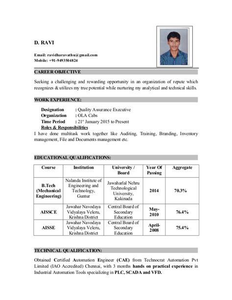 Resume B Tech Mechanical by Ravi Resume B Tech Mech