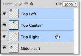 top right or right top align and distribute layers in photoshop