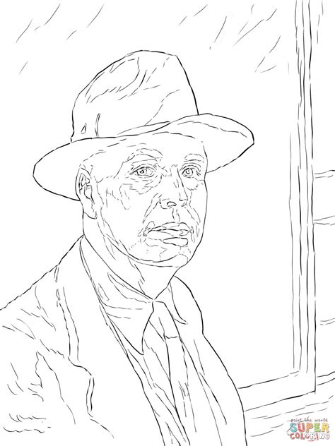 edward hopper self portrait coloring page free printable