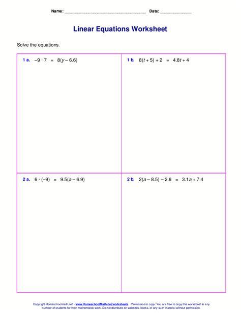 Multi Step Equations Worksheet Variables On Both Sides by Solving Equations With Variables On Each Side Worksheet
