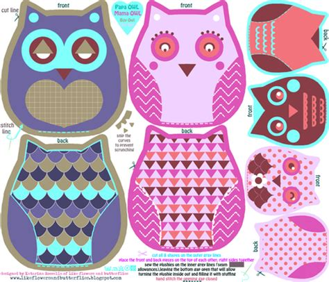 funky owls cut and sew pattern fabric katarina spoonflower