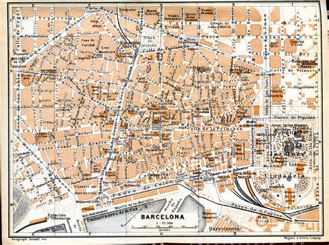 printable map barcelona city centre detailed old map of barcelona center central part of