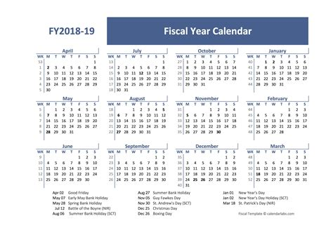 fiscal year calendar template uk  printable templates
