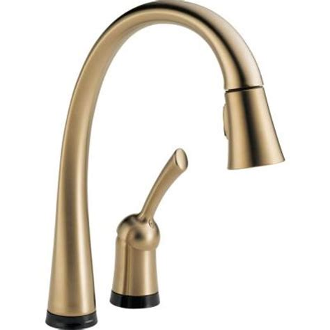 delta pilar single handle pull  sprayer kitchen faucet  toucho technology  champagne