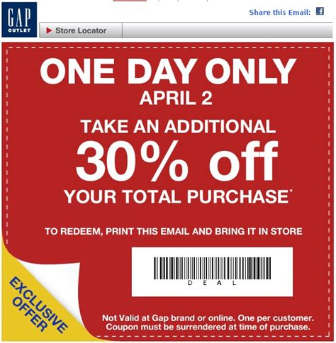 printable coupons gap outlet usa in store printable coupons discounts and deals printable