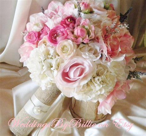 silk bride bouquet white cream pale pink roses cream