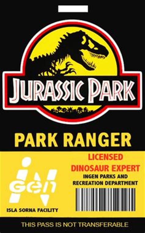 jurassic world id card template park ranger id badge park pass jurassic world