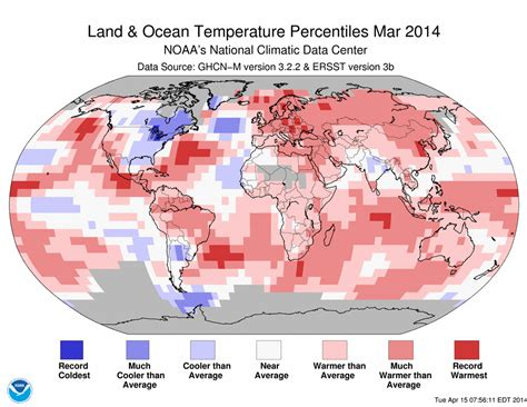weather map of us in march global climate report march 2014 state of the climate